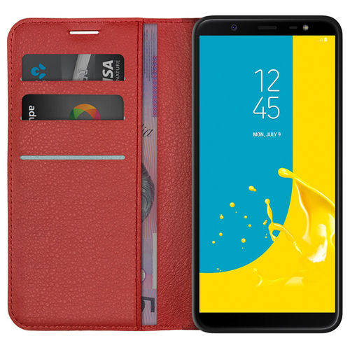 Leather Wallet Case & Card Holder Pouch for Samsung Galaxy J8 - Red